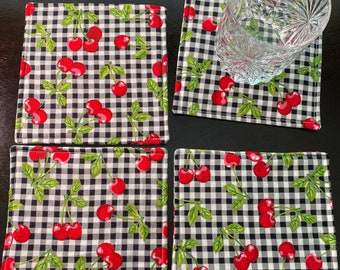 Set of 4 Fabric Coasters, Cotton Coasters, Cherries, Red Cherries, Cherry Bunches, Black and White