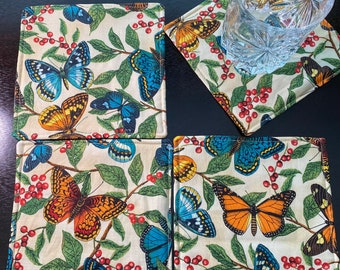 Set of 4 Fabric Coasters, Cotton Coasters, Floral, Butterflies, Mariposa