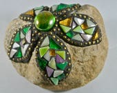 Mosaic Green Floral Rock,...