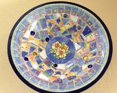 Mosaic Bowl Blue White an...