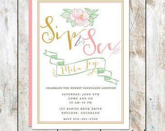 Sip and See Baby Shower Invitation - Vintage Sip and See Shower Invitation - Elegant Baby Shower Invitation