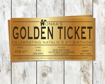Willy Wonka Birthday Golden Ticket Birthday Invitation - Golden Birthday - Willy Wonka Birthday Party - Golden Ticket Foil Invitation