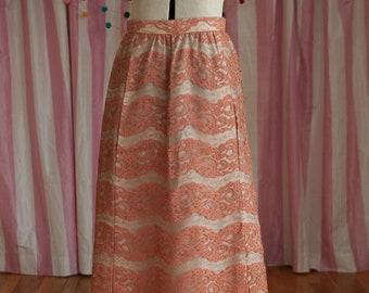Vintage Skirt - Stunning Lace Long Pink