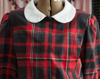 Vintage Dress - Preppy Plaid Schoolgirl Secretary