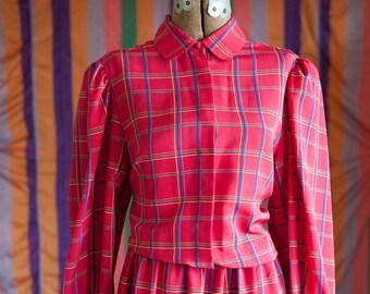 Vintage Dress - 80s Red Plaid Secretary Style