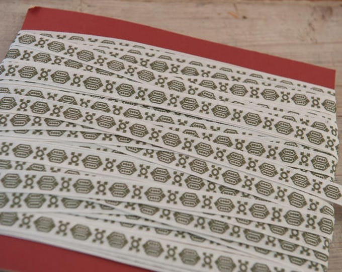 3 yards of Mod Avocado Green Vintage Trim 60s 70s New Old Stock Woven Geometric Holiday Christmas