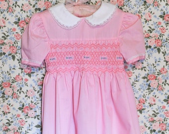 d5bf24b0b923 Vintage Baby Dress - Polly Flinders Pink Smocked Smocking 3T