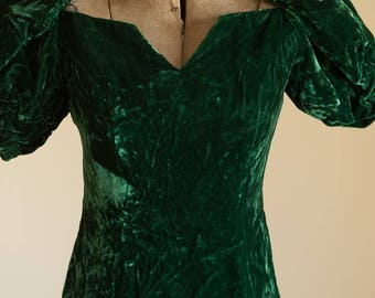 Vintage Gown - Stunning Emerald Green Crushed Velvet Bridesmaid Prom