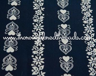Folk Art Stripe- Vintage Fabric Hearts Tulips Daisies on Navy