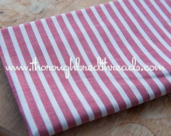 Candy Cane Stripes - Vintage Fabric 60s New Old Stock Red White Christmas Holiday
