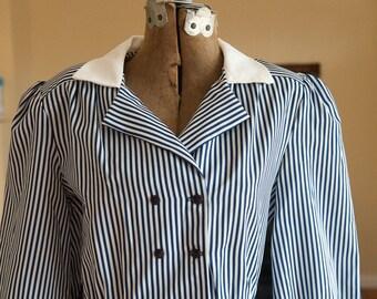 Vintage Dress - 80s Stripe Stripes Secretary Style Blue