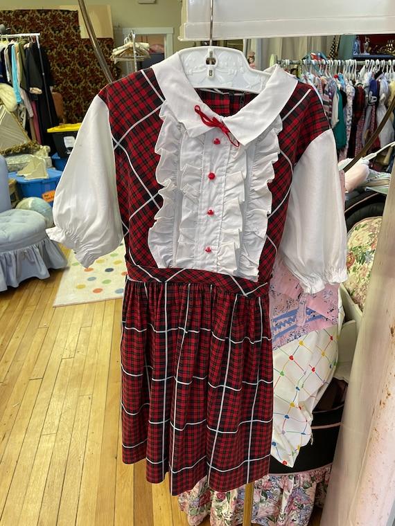 Vintage Girl's Dress  - Adorable 50s 60s Plaid Bac