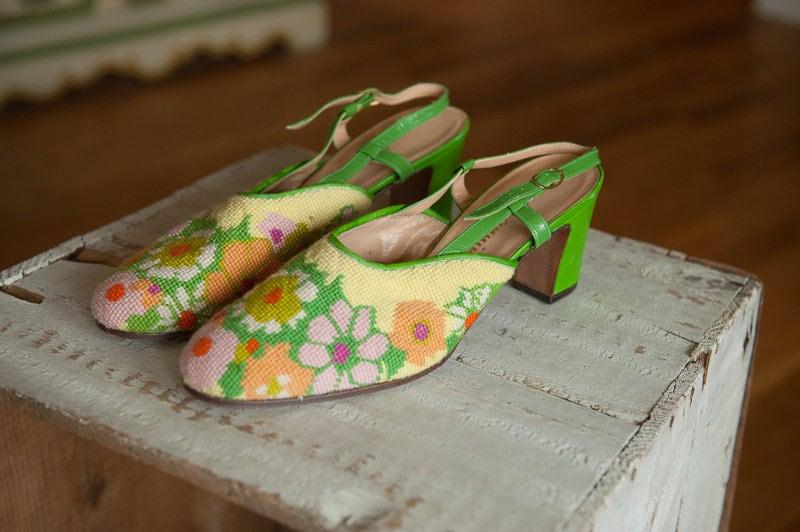 le canevas des des des chaussures vintage de marguerites vert néon italie ef2670