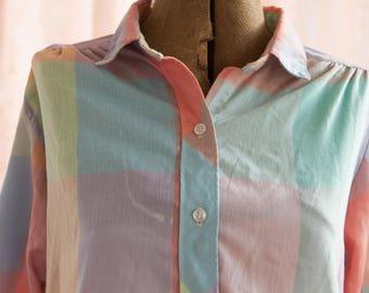 Vintage Sherbet Plaid Blouse - Preppy Sherbet Candy Gingham Shirt Top