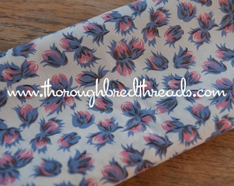Pink and Purple Blooms  - Vintage Fabric 36 inches wide 40s 50s New Old Stock Quilting Antique