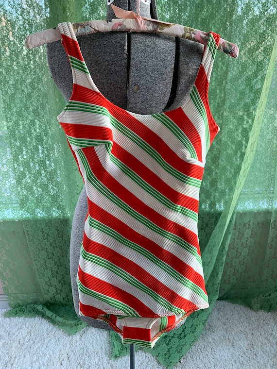 Vintage Bathing Suit - Striped Green Tomato Red Su