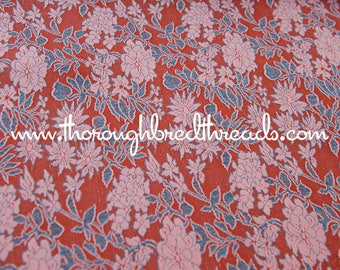 Fall Blooms- Vintage Fabric New Old Stock Knit Poly Orange Flowers