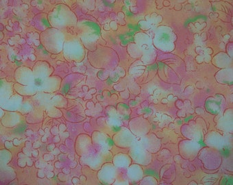 Colorful Mod Island Blooms - Vintage Fabric New Old Stock 70s Island Feel Tropical