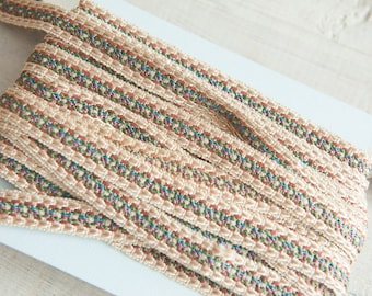 Multi Color - 3 yards Vintage Trim New Old Stock 70s Edging Gimp Ivory Mauve Green Blue