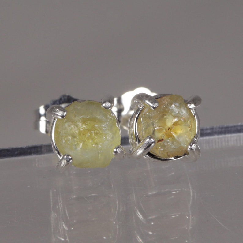 Raw Uncut Gemstone Crystals Montana Sapphires Sterling Earrings   Free Gift Box Gift Tag and Free Shipping