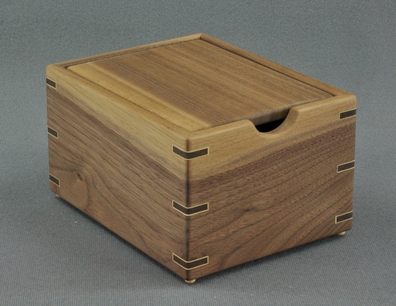 Wooden Recipe Box For 3x5 Recipe Cards Solid Black Walnut By Tyler Morris Woodworking