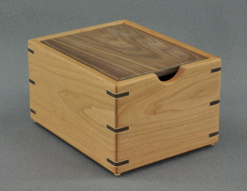 Wooden Recipe Box For 3x5 Recipe Cards Cherry With Walnut Lid By Tyler Morris Woodworking