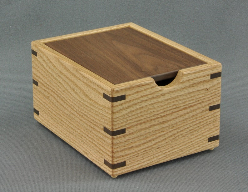 Wooden Recipe Box For 3x5 Recipe Cards Oak With Walnut Lid By Tyler Morris Woodworking