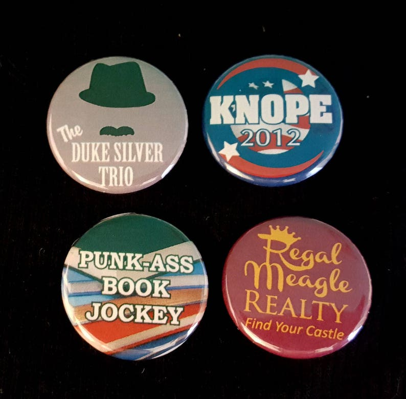 Parks & Rec Pin  CHOOSE ONE  Duke Silver Knope 2012 Book image 0