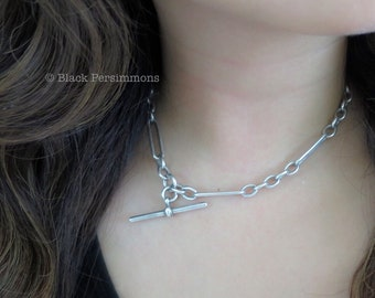 Antique Victorian Solid Sterling Silver Albert Elongated Links Pocket Watch Chain Choker Necklace - Insurance Included