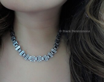 Antique Victorian Sterling Silver Collar Book Chain Choker with Star Design Reversible Necklace - Insurance Included