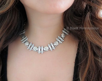 Antique Victorian Sterling Silver Collar Book Chain Choker Engraved Statement Motif Designs Necklace - Insurance Included