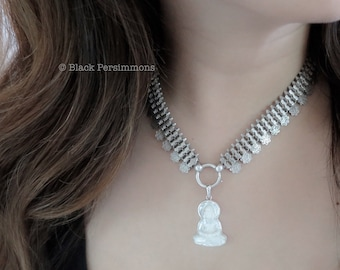 1881 Antique Victorian Sterling Silver Collar Book Chain Choker with Engraved Charms Necklace - Insurance Included