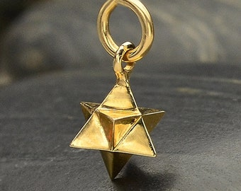 Large Merkaba Sacred Geometry Charm Necklace - Natural Bronze - Insurance Included