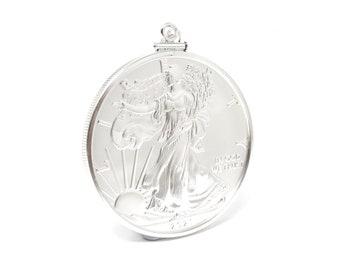 2021 American Silver Eagle Coin 99.9% Bullion 1 oz BU Pendant with .925 Curb Chain Necklace