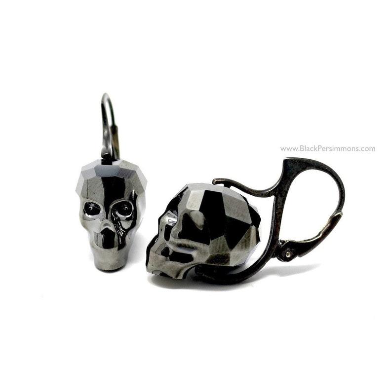 cb7df28e2 Swarovski Skull Crystal Passions® Sterling Silver Earrings   Etsy