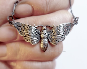 Deaths Head Moth Necklace - Oxidized Solid 925  Sterling Silver Halloween Skully Pendant - Insurance Included