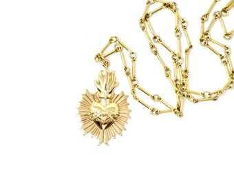 Sacred Flaming Heart with Thorns Necklace - Natural BrOnze Charm Pendant WIth Gold Filled Chain - Insurance Included