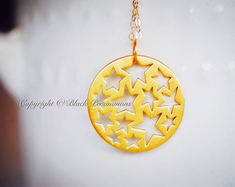 Last One - My Sun and Stars Necklace - 24K Gold Plated Sterling Silver Vermeil Cutout Star Pendant - Insurance Included