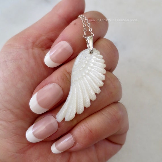 Tiny Solid 925 Sterling SIlver Openwork Charm Insurance Included Angel Wing Necklace