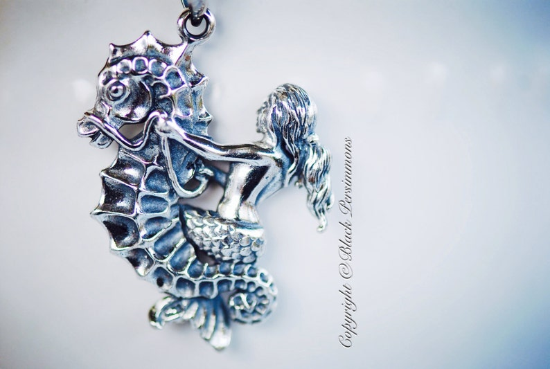 Insurance Included Sterling Silver Aquatic Creature Charm Pendant Mermaid Riding Seahorse Necklace