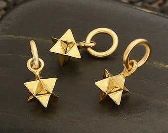 Small Merkaba Sacred Geometry Charm Necklace - Natural Bronze - Insurance Included