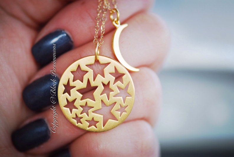 Last One Insurance Included 24K Gold Plated Sterling Silver Vermeil Cutout Star Pendant My Sun and Stars Necklace