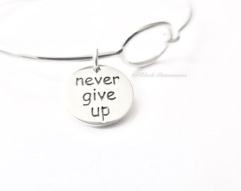 Never Give Up Charm Bangle Bracelet - Solid 925 Sterling Silver - Insurance Included