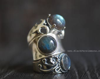 Mohini Labradorite Concave Band Ring - Solid 925 Sterling Silver - Genuine Auspicious Feng Shui Symbol Gemstone - Insurance Included