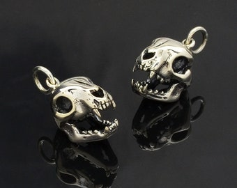 Cat Skull Charm Necklace - Sterling Silver - Insurance Included