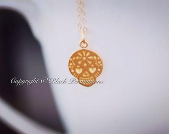 Yatzil Necklace - Small Mexican Sugar Skull  24K Gold Plated Bronze Pendant Dia de los Muertos - Insurance Included