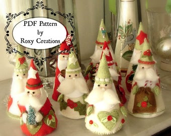 PDF felt sewing PATTERN printable pattern Santa Christmas ornaments felt pattern instant download great gift or christmas decor