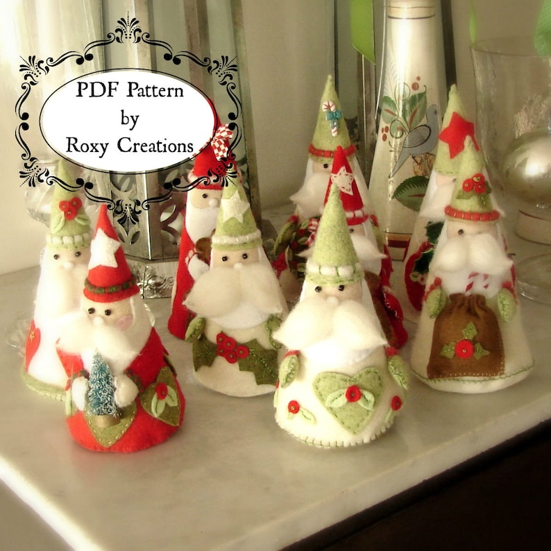 image relating to Free Printable Christmas Sewing Patterns referred to as PDF felt sewing Habit printable habit Santa Xmas ornaments felt routine instantaneous obtain excellent present or xmas decor