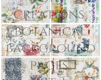 Botanical printable digital background Journal pages kit 3a