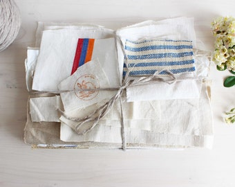 Fabric sewing bundle antique hemp and linens